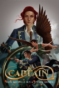Cover of The Captain. Wendy stands behind a ship's wheel. Hook and Peter are in the foreground, staring off to the left and preparing to fight.